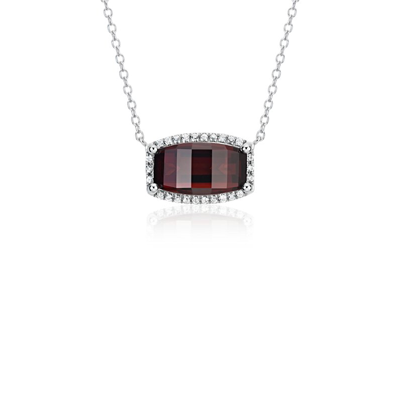Barrel Garnet White Topaz Halo Pendant in Sterling Silver (12x7mm
