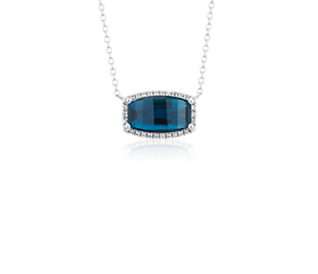 Barrel London Blue Topaz White Topaz Halo Pendant in Sterling Silver (12x7mm)