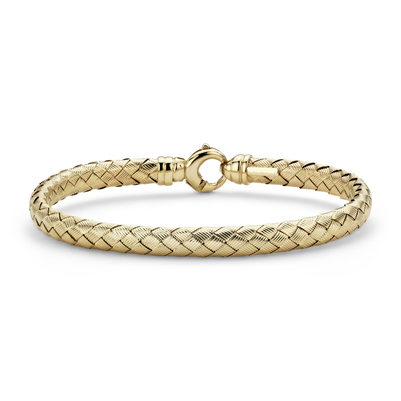 Basket Weave Bangle in 14k Yellow Gold