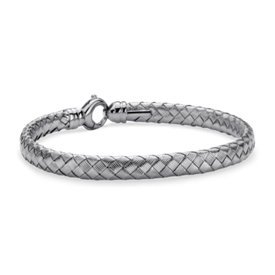 Larger Basketweave Bangle in Sterling Silver