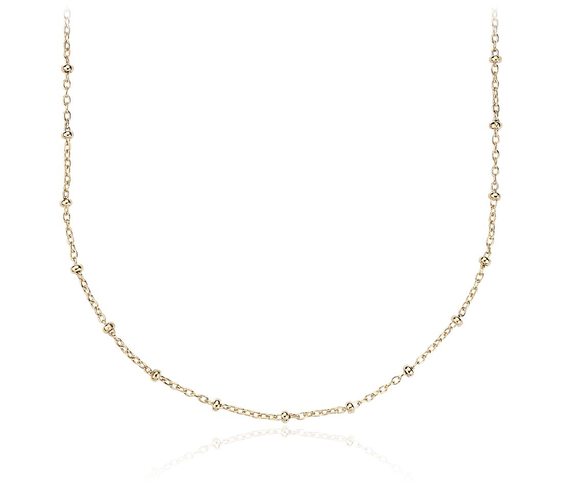 "Long Bead Link Chain Necklace in 14k Yellow Gold (30"")"