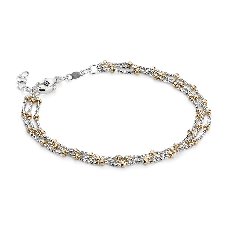 Two-Tone Layered Bead Station Bracelet in Sterling Silver and 14k