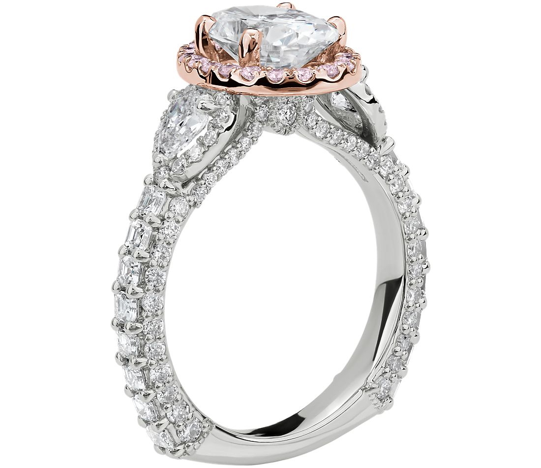 Bella Vaughan for Blue Nile Catarina Diamond Engagement Ring in Platinum with 18k Rose Gold and Pink Diamond Details (1 3/4 ct. tw.)