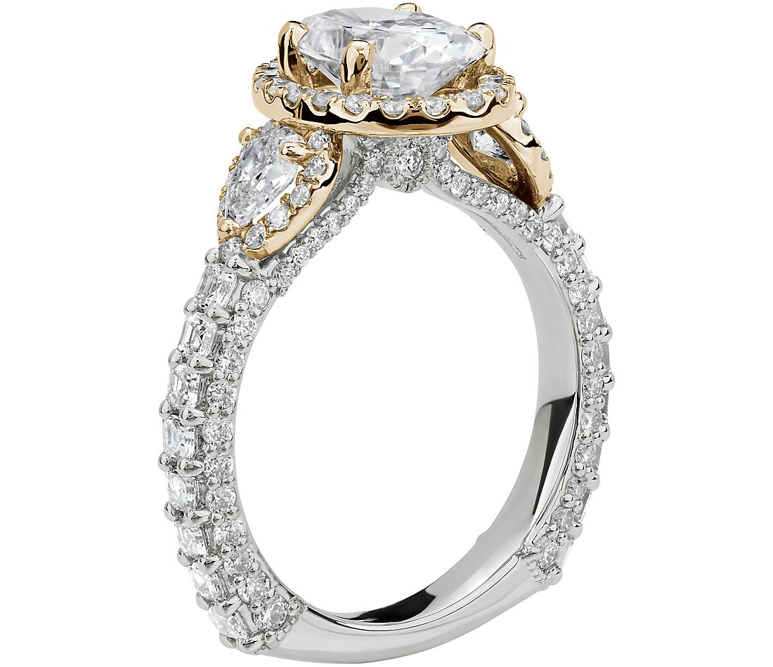 Bella Vaughan for Blue Nile Catarina Diamond Engagement Ring in Platinum and 18k Yellow Gold (1 3/4 ct. tw.)