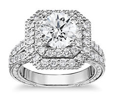 Bella Vaughan for Blue Nile Alexandria Double Halo Engagement Ring in Platinum (1 3/4 ct. tw.)