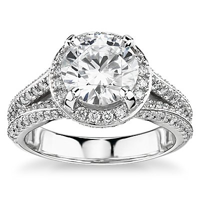 Bella Vaughan for Blue Nile Seattle Split Shank Double Pave Diamond Halo Engagement Ring in Platinum