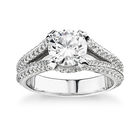 Bella Vaughan for Blue Nile Seattle Split Shank Double Pave Diamond Engagement Ring in Platinum (3/4 ct. tw.)