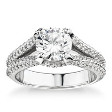 Bella Vaughan for Blue Nile Seattle Split Shank Double Pave Diamond Engagement Ring in Platinum