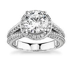 铂金 Bella Vaughan for Blue Nile 西雅图分叉戒环双密钉钻石光环订婚戒指(1 克拉总重量)