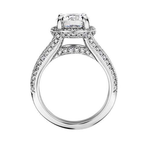 Bella Vaughan for Blue Nile Seattle Split Shank Double Pave Diamond Halo Engagement Ring