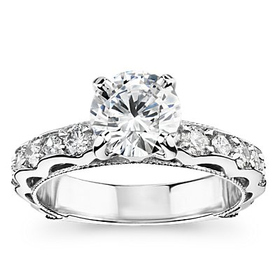 Bella Vaughan for Blue Nile Venezia Milgrain Diamond Engagement Ring in Platinum (3/4 ct. tw.)