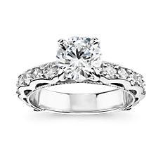 Bella Vaughan for Blue Nile Venezia Milgrain Diamond Engagement Ring in Platinum