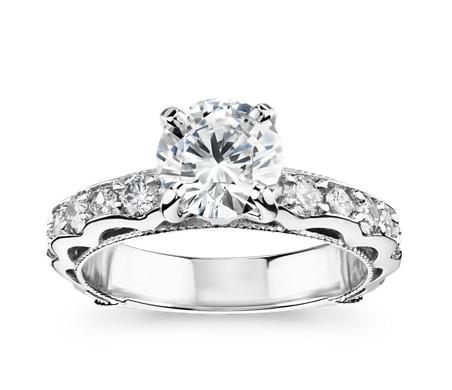 Bella Vaughan for Blue Nile Venezia Milgrain Diamond Engagement Ring in Platinum (4/5 ct. tw.)