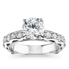 Bella Vaughan for Blue Nile Venezia Milgrain Diamond Engagement Ring in Platinum