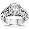 Bella Vaughan for Blue Nile Victoria Diamond Halo Engagement Ring in Platinum (1 ct. tw.)