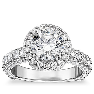 Bella Vaughan for Blue Nile Grandeur Halo Diamond Engagement Ring in Platinum