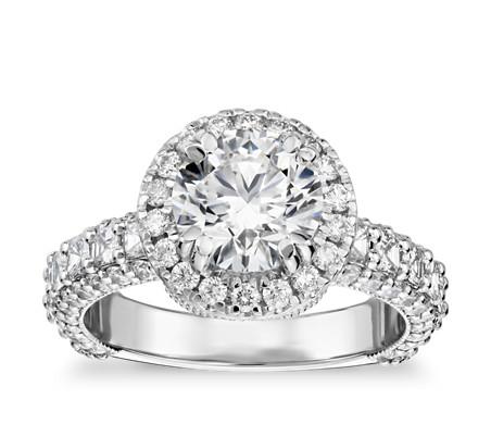 Bella Vaughan for Blue Nile Grandeur Halo Diamond Engagement Ring in Platinum (2.25 ct. tw.)