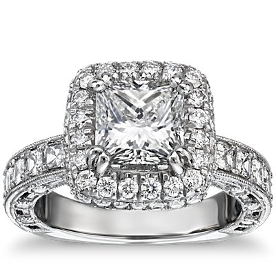 Bella Vaughan for Blue Nile Imperial Princess Halo Diamond Engagement Ring in Platinum
