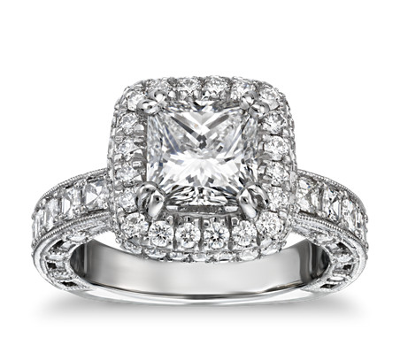 Bella Vaughan for Blue Nile Imperial Princess Halo Diamond Engagement Ring in Platinum (1.75 ct. tw.)