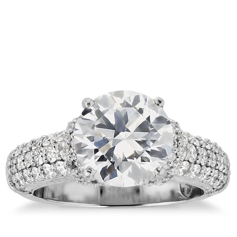 Bella Vaughan for Blue Nile Majesty Trio Diamond Collar Engagement Ring in Platinum (1 ct. tw.)