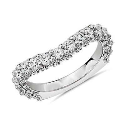NEW Bella Vaughan for Blue Nile Roma Curved Diamond Wedding Ring in Platinum (1.28 ct. tw.) - G/VS2