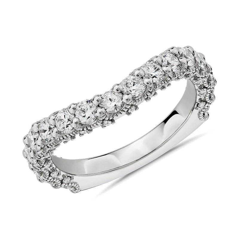Bella Vaughan for Blue Nile Roma Curved Diamond Wedding Ring in P