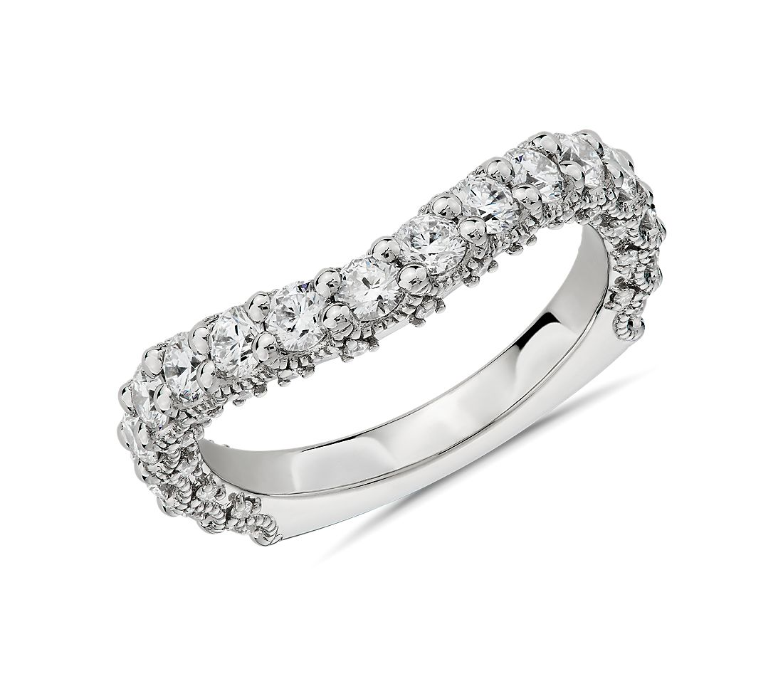 Bella Vaughan for Blue Nile Roma Curved Diamond Wedding Ring in Platinum (1.28 ct. tw.) - G/VS2