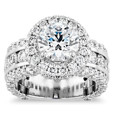 Bella Vaughan for Blue Nile Sophia Triple Row Diamond Rollover Halo in Platinum (3.07 ct. tw.)