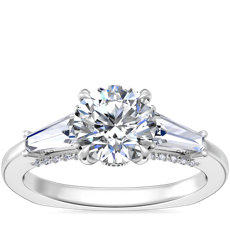 NEW Bella Vaughan Tapered Baguette Three Stone Engagement Ring in Platinum (1/2 ct. tw.)