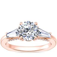 NEW Bella Vaughan Tapered Baguette Three Stone Engagement Ring in 18k Rose Gold (1/2 ct. tw.)