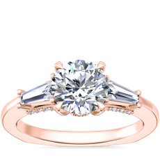 NEW Bella Vaughan Tapered Baguette Three Stone Engagement Ring in 18k Rose Gold (3/8 ct. tw.)