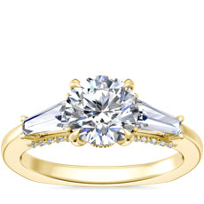 NEW Bella Vaughan Tapered Baguette Three Stone Engagement Ring in 18k Yellow Gold (1/2 ct. tw.)