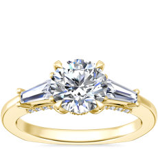 NEW Bella Vaughan Tapered Baguette Three Stone Engagement Ring in 18k Yellow Gold (3/8 ct. tw.)