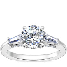 NEW Bella Vaughan Tapered Baguette Three Stone Engagement Ring in Platinum (3/8 ct. tw.)