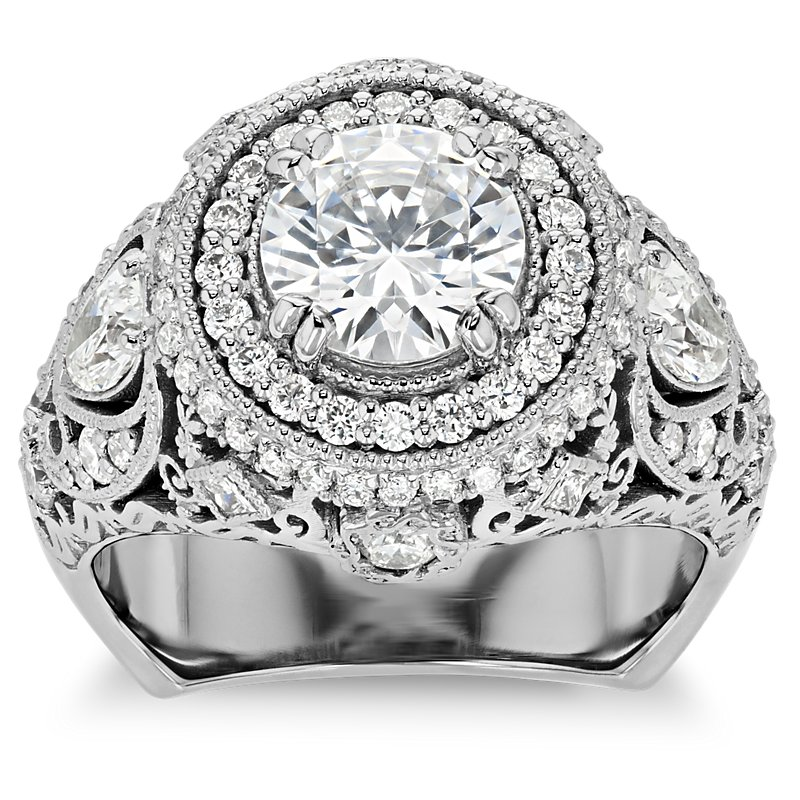 Bella Vaughan for Blue Nile Trinity Halo Diamond Engagement Ring in Platinum (1.15 ct. tw.)