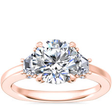 NEW Bella Vaughan Trapezoid Three Stone Engagement Ring in 18k Rose Gold (1/3 ct. tw.)