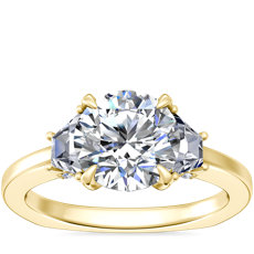 NEW Bella Vaughan Trapezoid Three Stone Engagement Ring in 18k Yellow Gold (3/8 ct. tw.)