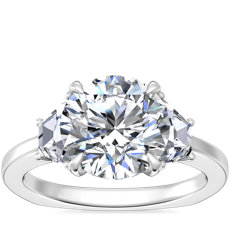 NEW Bella Vaughan Trapezoid Three Stone Engagement Ring in Platinum (5/8 ct. tw.)