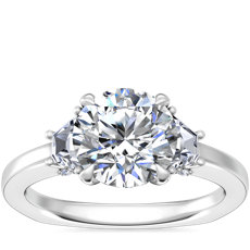 NEW Bella Vaughan Trapezoid Three Stone Engagement Ring in Platinum (1/3 ct. tw.)