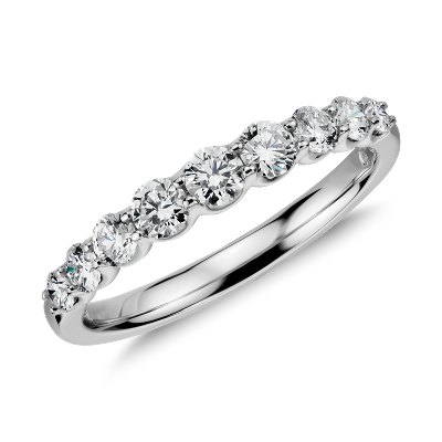 Graduated Diamond Ring in 14k White Gold 12 ct tw Blue Nile
