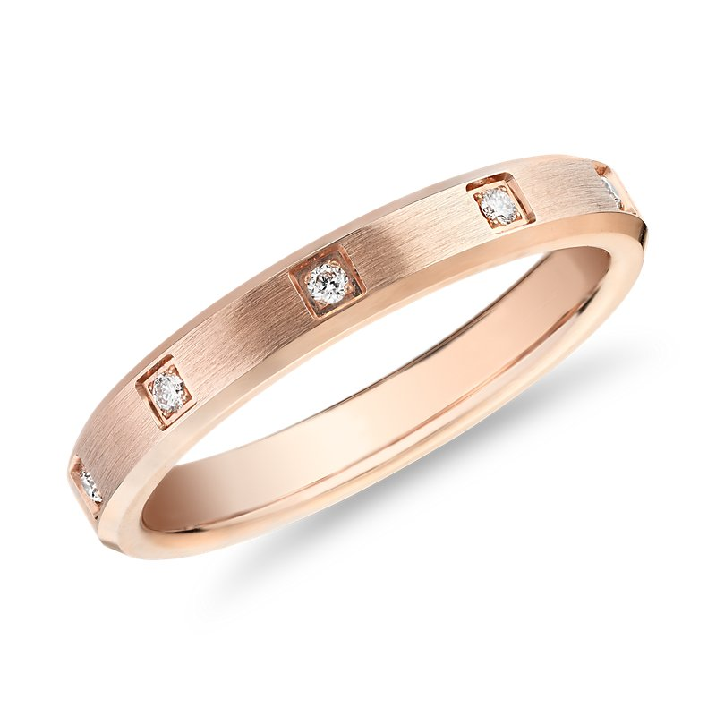 Beveled Edge Diamond Eternity Wedding Ring in 14k Rose Gold (3mm)