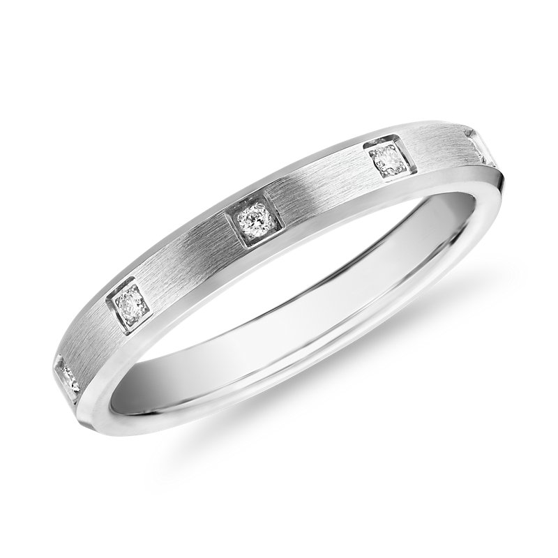 Beveled Edge Diamond Eternity Wedding Ring in 14k White Gold (3mm