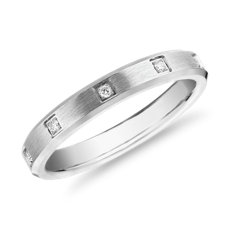 Beveled Edge Diamond Eternity Wedding Ring in 14k White Gold (3mm)