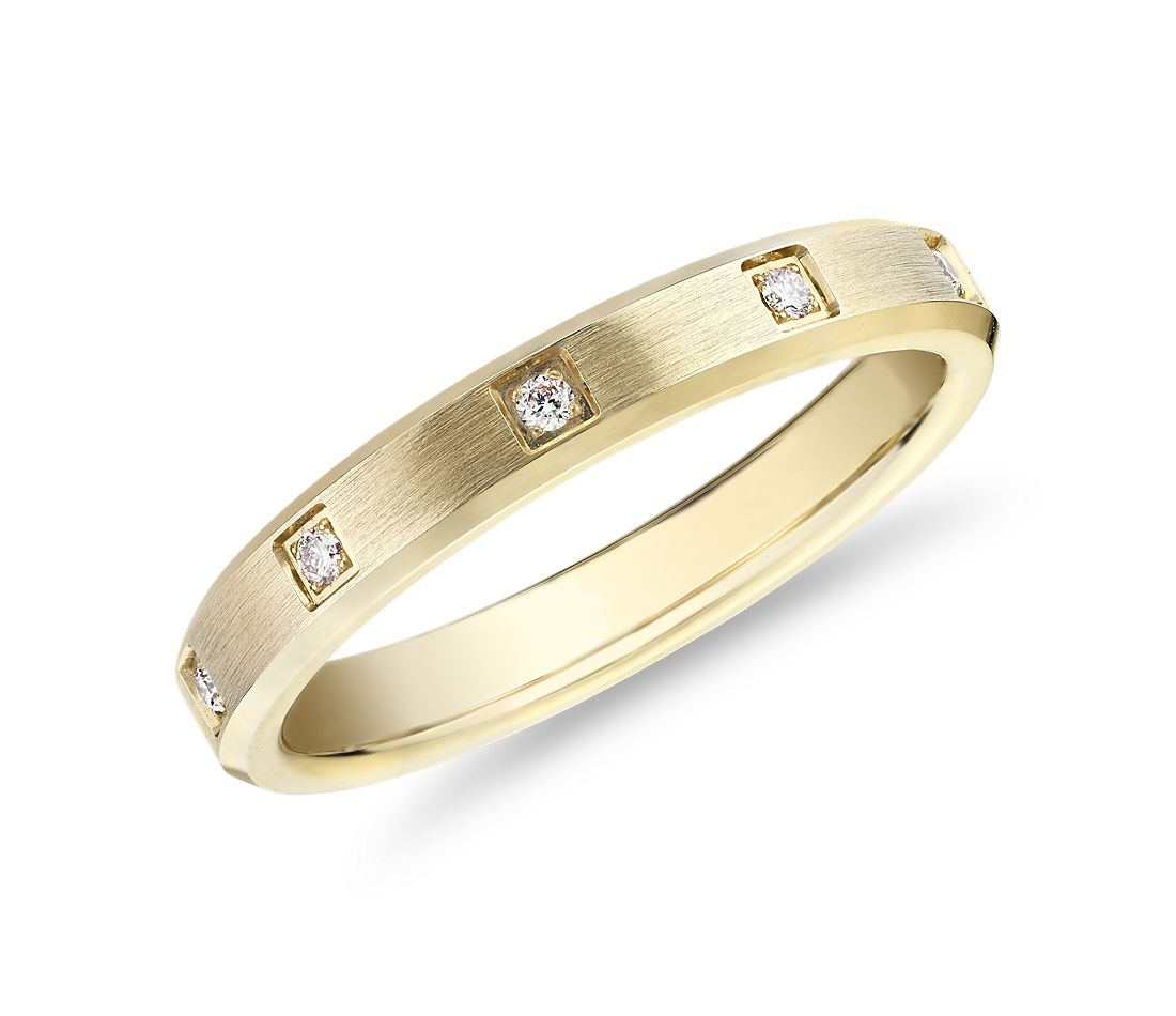 Beveled Edge Diamond Eternity Wedding Ring in 14k Yellow Gold (3mm)
