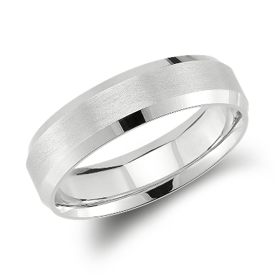 Beveled Edge Matte Wedding Ring in 14k White Gold 6mm Blue Nile