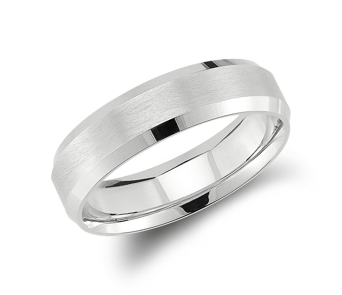 Beveled Edge Matte Wedding Ring In 14k White Gold 6mm