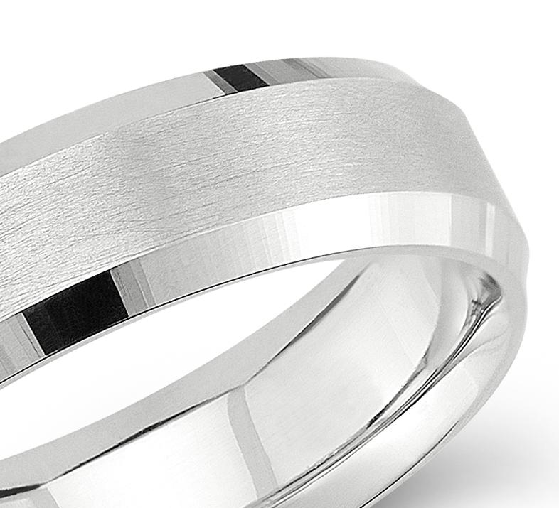 Beveled Edge Matte Wedding Ring in 14k White Gold (6mm)