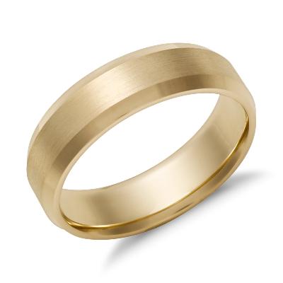 Beveled Edge Matte Wedding Ring in 14k Yellow Gold 6mm Blue Nile