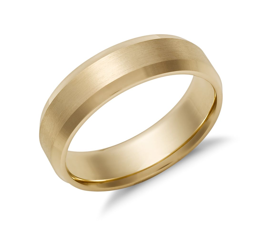 Beveled Edge Matte Wedding Ring in 14k Yellow Gold (6mm)  c0b2c2eff0ed