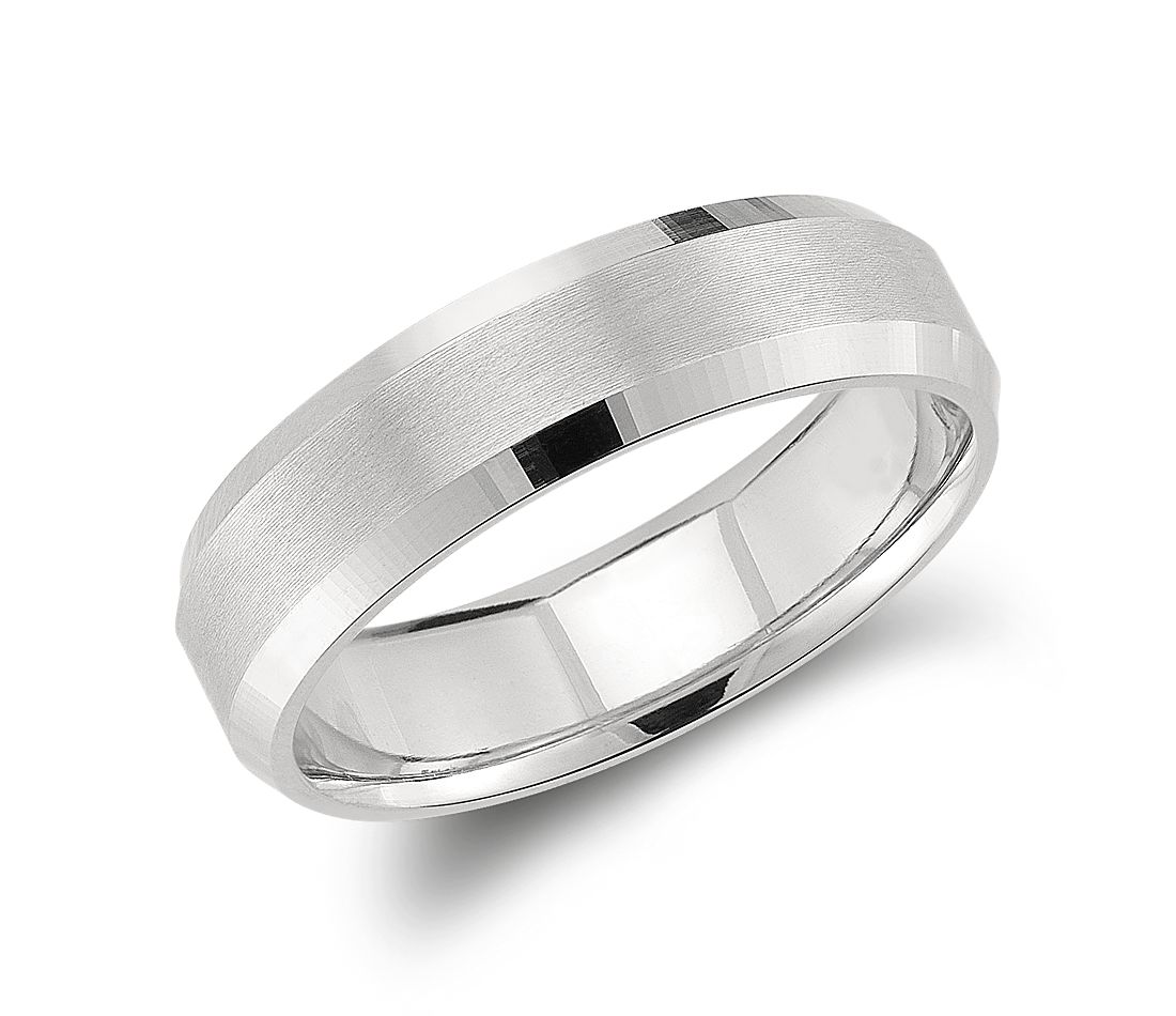 beveled edge matte wedding ring in platinum 6mm - Blue Wedding Ring